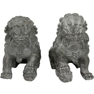 "Handmade 6"" Sitting Foo Dog Statues, Set of 2"