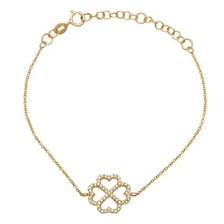 Diamonds for a Cure 14k Yellow Gold 1/5ct TDW Four Leaf Clover Bracelet (H-I, SI1-SI2)
