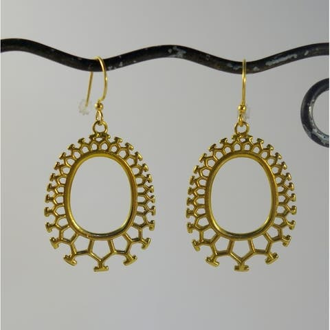 Handmade Brass Honeycomb Dangle Earrings by Spirit (Indonesia)
