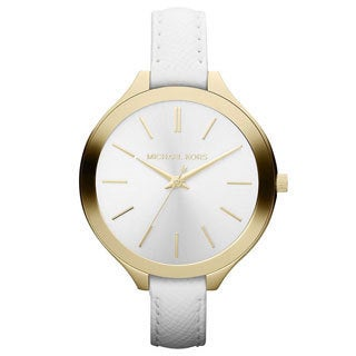 Michael Kors Women's Slim Runaway White Leather Watch