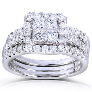 Annello by Kobelli 14k White Gold 1 7/8ct TDW Princess Quad Diamond 3-Ring Bridal Set (H-