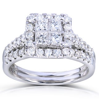 Annello by Kobelli 14k White Gold 1 5/8ct TDW Princess Quad Diamond 2-ring Bridal Set (H-