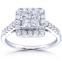 Annello by Kobelli 14k White Gold 1 3/8ct TDW Princess Quad Halo Diamond Engagement Ring