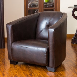 Dale Brown Leather Club Chair by Christopher Knight Home