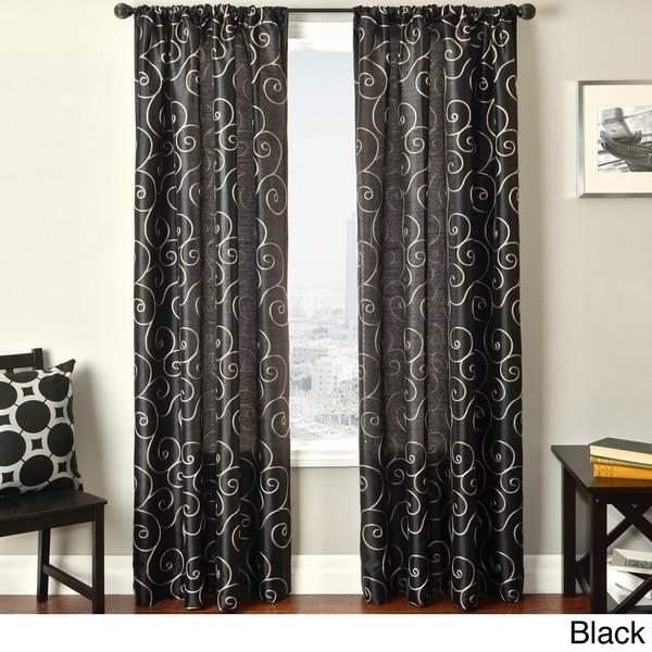 softline bay scroll embroidered rod pocket sheer curtain. Black Bedroom Furniture Sets. Home Design Ideas