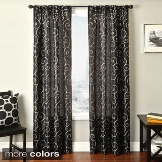 Softline Bay Scroll Embroidered Rod Pocket Sheer Curtain Panel