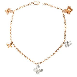 Diamonds for a Cure 18k Gold 1/4ct TDW Butterfly Charm Bracelet (H-I, SI1-SI2)