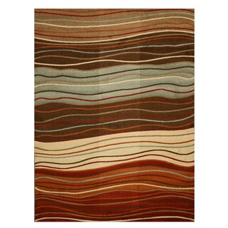 Brown Contemporary Abstract Waves Rug (5'3 x 7'3)