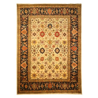 Hand-knotted Wool Ivory Traditional Oriental Ivory Super Mahal Rug (6' x 9') - 6' x 9'