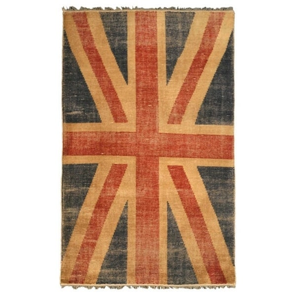 Hand-knotted Wool Red Casual Flag Union Jack British Flag Rug (5' x 8') - 5' x 8'