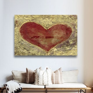 Elena Ray 'Red Heart On Gold' Gallery-wrapped Canvas Art