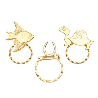 Detti Originals SPEC pins Goldtone Turtle/ Fish and Horseshoe Spectacle Brooch Set (Set of 3)