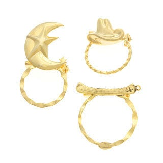 Detti Originals SPEC pins Moon/ Hat and Canoe 3-piece Spectacle Brooch Set