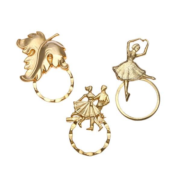 Detti Originals SPEC pins Ballerina/ Leaf and Square Dancer 3-piece Spectacle Brooch Set