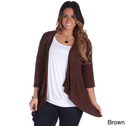 24/7 Comfort Apparel Women's Jersey Knit Plus-size Open Shrug