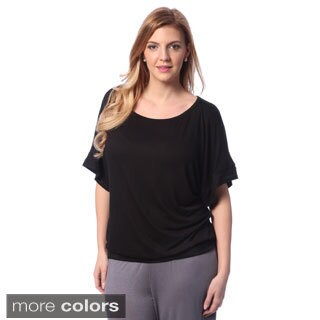 24/7 Comfort Apparel Women's Plus Size Dolman Sleeve Casual Top