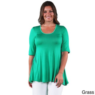 24/7 Comfort Apparel Women's Plus Size Elbow Sleeve Solid Tunic