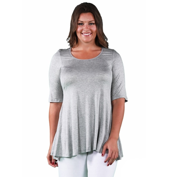 6f9bf7c923ae30 Shop 24/7 Comfort Apparel Women's Plus Size Elbow Sleeve Tunic - On ...