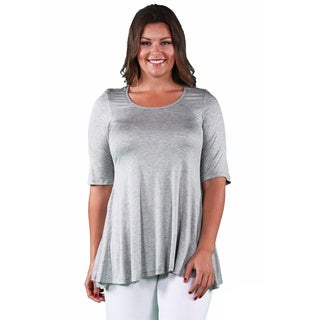 24/7 Comfort Apparel Women's Plus Size Elbow Sleeve Solid Tunic (More options available)