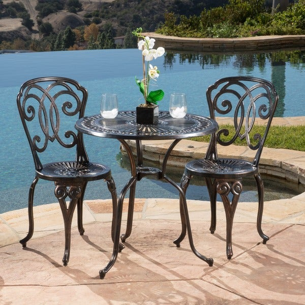 cornwall 3piece cast aluminum outdoor bistro set by christopher knight home