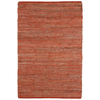 Hand Woven Orange Jeans Denim and Hemp Rug (9' x 12')