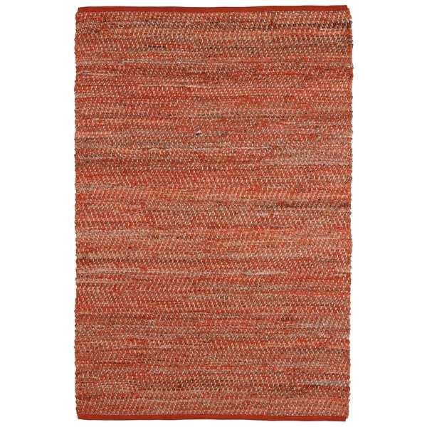 Hand Woven Orange Jeans Denim and Hemp Rug (9' x 12')