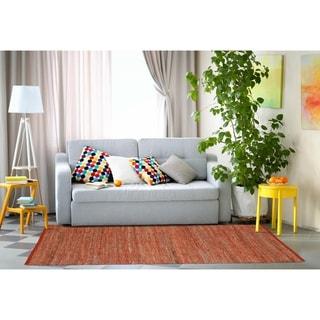 Hand Woven Orange Jeans Denim and Hemp Rug (9' x 12') - 9' x 12'
