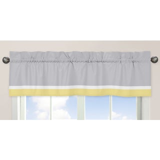 Sweet Jojo Designs Gray, Yellow and White 54-inch x 15-inch Window Treatment Curtain Valance for Mod Garden