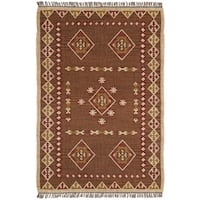 Hand Woven Bradford Jute and Wool Flat Weave Rug (9' x 12') - 9' x 12'