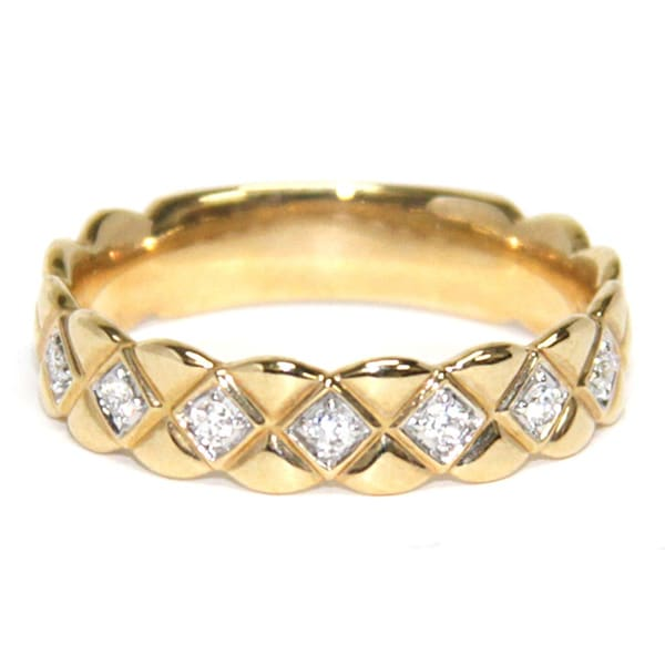 Neda Behnam 14k Yellow Gold 1/10ct TDW Quilted Band (H-I, SI1-SI2)