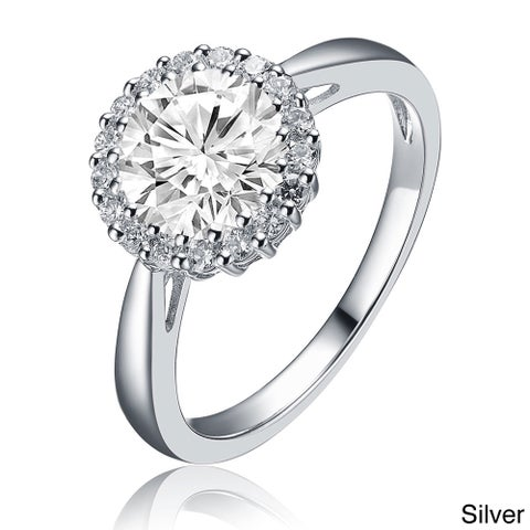 Collette Z Sterling Silver Round-cut Cubic Zirconia Ring