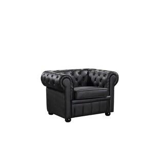 Chesterfield Black Genuine Leather Tufted Armchair - AVIGNON