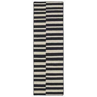 "Flatweave TriBeCa Black Stripes Wool Rug - 2'6"" x 8'"