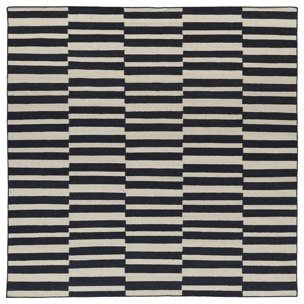 Flatweave TriBeCa Black Stripes Wool Rug - 8' Square