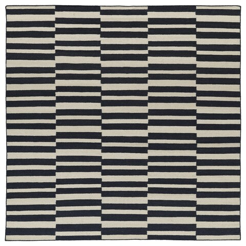Flatweave TriBeCa Black Stripes Wool Rug - 8' Square