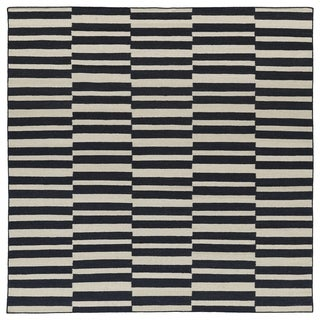 Flatweave TriBeCa Black Stripes Wool Rug (8' Square)
