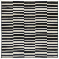 Flatweave TriBeCa Black Stripes Wool Rug - 8' x 8'