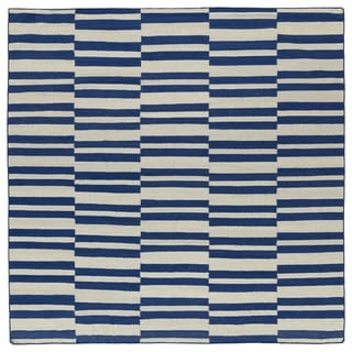 Flatweave TriBeCa Blue Stripes Wool Rug - 8' Square