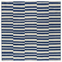 Flatweave TriBeCa Blue Stripes Wool Rug