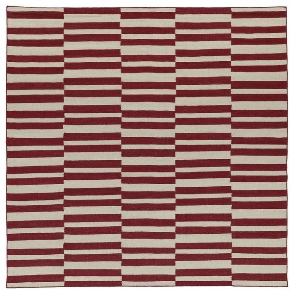 Flatweave TriBeCa Red Stripes Wool Rug (8' Square) - 8' x 8' Square