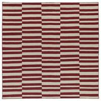 Flatweave TriBeCa Red Stripes Wool Rug - 8' x 8' Square