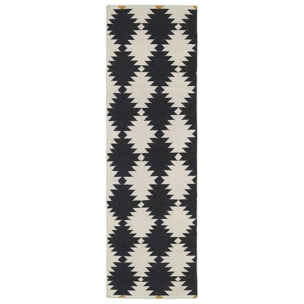 """Flatweave TriBeCa Black Wordly Wool Rug - 2'6"""" x 8'"""