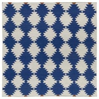 Flatweave TriBeCa Flat-weave Blue Wordly Wool Rug - 8' Square
