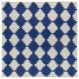 Flatweave TriBeCa Flat-weave Blue Wordly Wool Rug (8' Square)