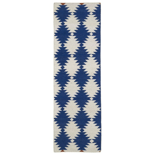 "Flatweave TriBeCa Blue Wordly Wool Rug - 2'6"" x 8'"