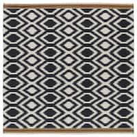 Flatweave TriBeCa Black Geo Wool Rug - 8' Square
