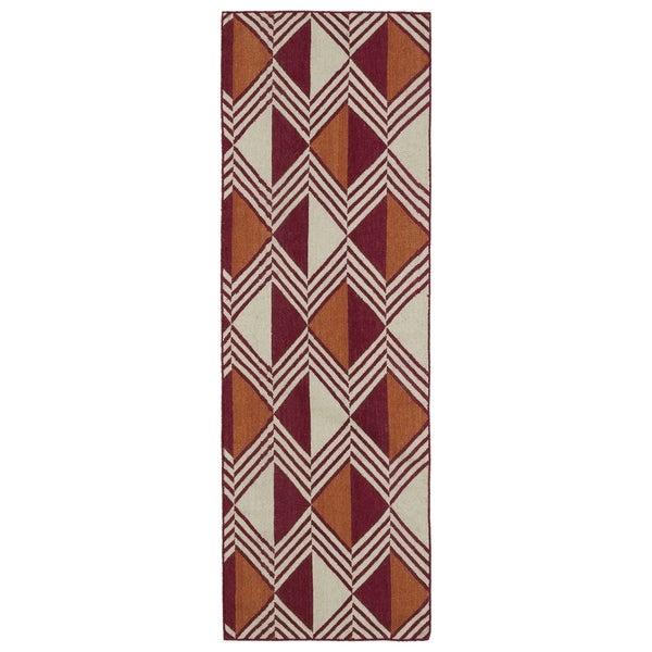 "Flatweave TriBeCa Red Diamonds Wool Rug (2'6 x 8') - 2'6"" x 8'"