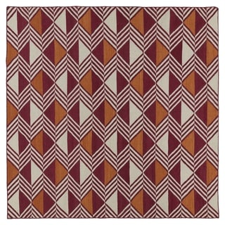 Flatweave TriBeCa Red Diamonds Wool Rug (8' Square)