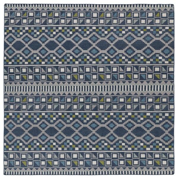 Flatweave Tribeca Blue Wool Rug 8 Square Free