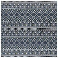 Flatweave TriBeCa Blue Wool Rug - 8' Square